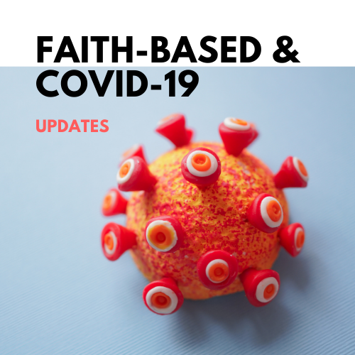 """A COVID particle with the text """"Faith-Based and COVID-19"""" overlaid"""