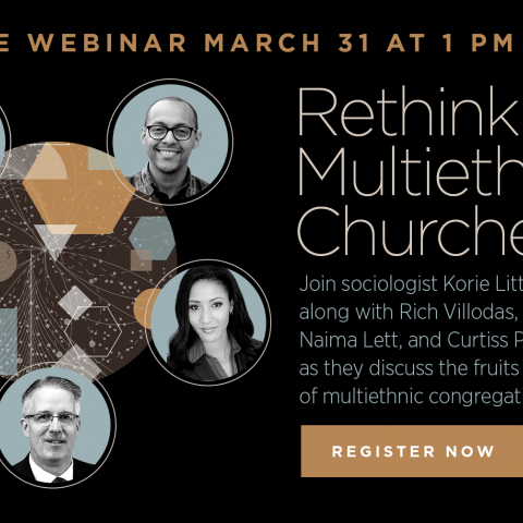 """Banner reads """"Rethinking Multiethnic Churches Free Webinar March 31 1pm CDT"""" with headshots of five speakers including MCC CEO Rev. Dr. Curtiss Paul Deyoung"""
